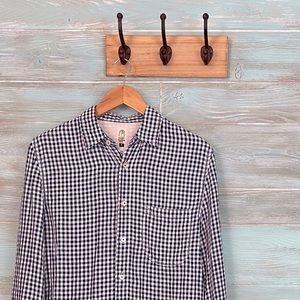 "Hiroshi Kato Shirt ""The Ripper"" Linen Navy Plaid"
